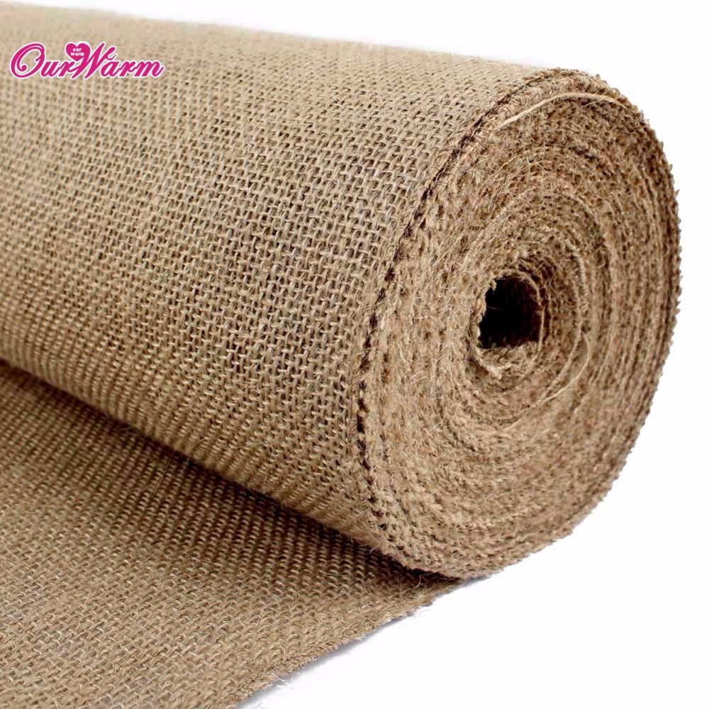 5pcs/lot Jute Burlap Rolsl 10m x 33cm Dining Table Runner for Weddings Decoration Accesscories Home Decor Festive Party Supplies