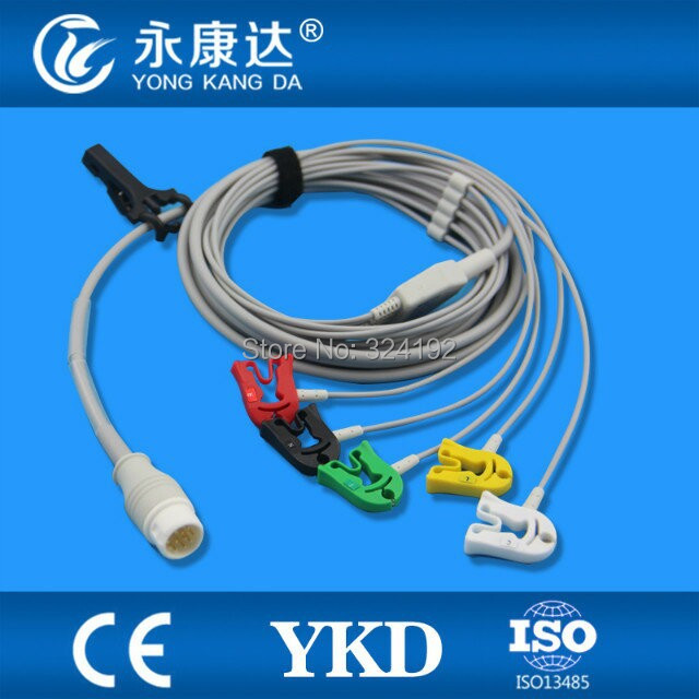 Offre spéciale clip/pince néonatal ECG, câble ECG monobloc avec fils de plomb, IEC/AHA disponible