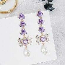 Korean Baroque Style Purple Rhinestone Love Heart Long Dangle Earrings Fashion Crystal Water Drop Pendientes For Women