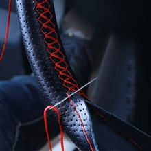 Universal Car Steering Wheel Cover With Needles Thread PU Leather DIY Genuine Artificial Leather Car Styling Accessories ATV SUV