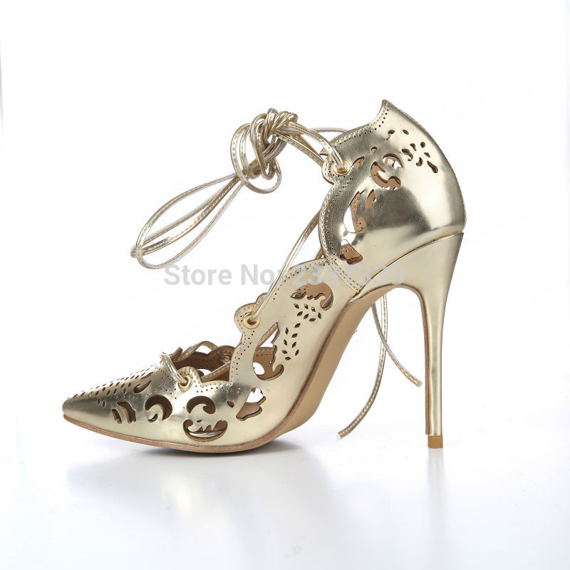 31d958cd44e US $65.0 45% OFF|Gold Impera Laser Cut Thin High Heels Women Pumps Lace up  Pointed Toe Fretwork Party Dress Shoes Sapato Femmes Pink Gold Shoes-in ...