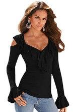 New 2017 Fashiion Feminina Blusas Women Black Grey Ruffle Cold Shoulder Long Sleeve Top Hot Selling Clothing LC25892