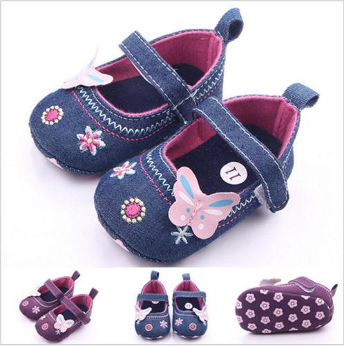 Infant Newborn Baby Girls Flower Embroidery Cotton Crib Shoes Infantil Soft Sole Anti-Slip Prewalker Mocassins Shoes 0-2Y