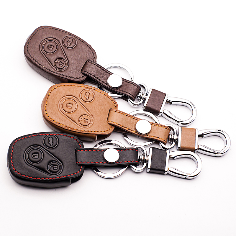 Genuine leather car key cover case for HONDA for Accord CR-V Civic Fit Freed StepWGN keyring keychain holder 3 buttons Key Shell new car remote key fob cover case holder protect for honda 2016 2017 crv pilot accord civic fit freed keyless entry car styling