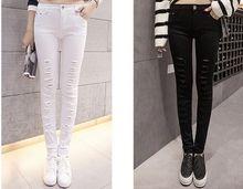 Бесплатная доставка 2016 новых прибыл воды сделать отверстие черный и белый цвет тонкий женские джинсы дамы джинсы