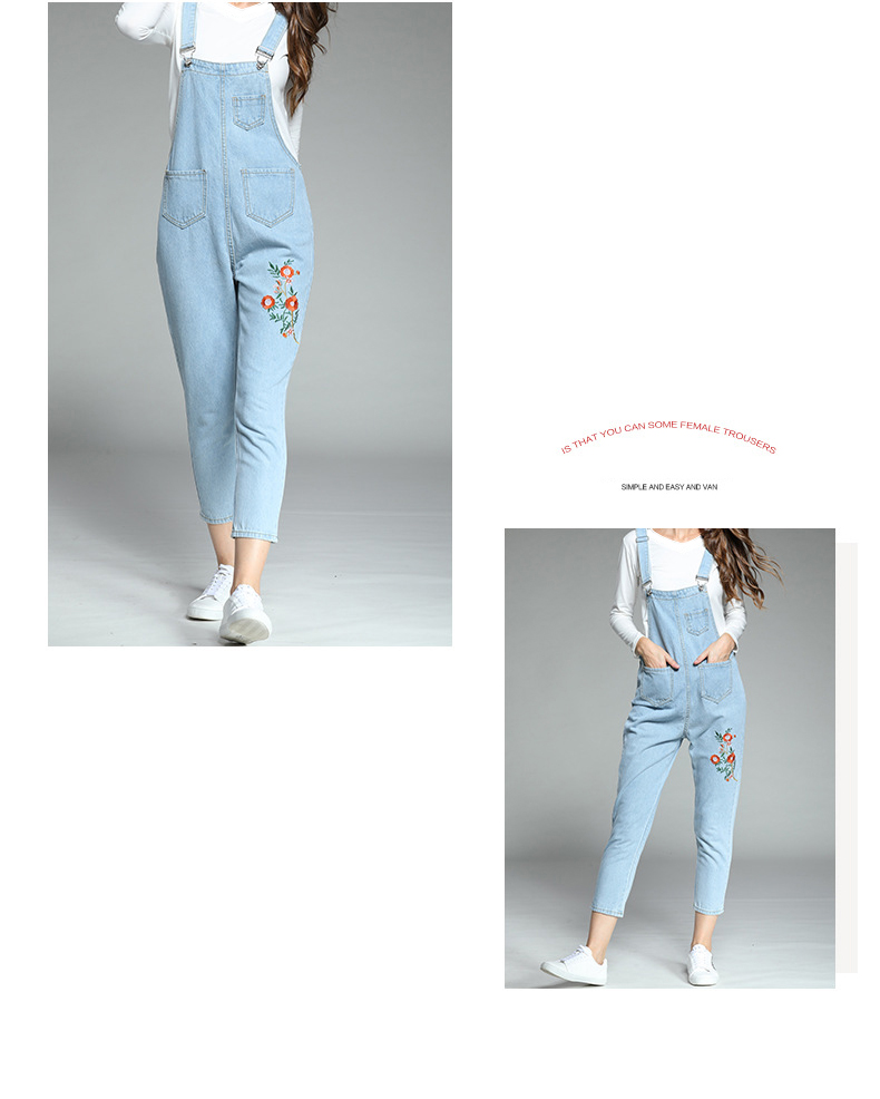 Large size women's 2018 autumn new fat mm Korean version of the embroidered piece of his pants ageing fat sister thin strappy pants (9)