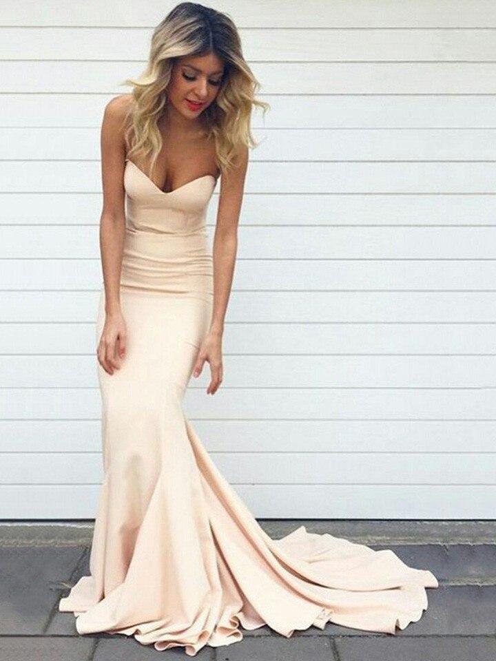 Sweetheart Mermaid   Prom     Dresses   Sweep Train Robe de bal longue Simple Formal   Dress   Vestidos de fiesta largos elegantes de gala