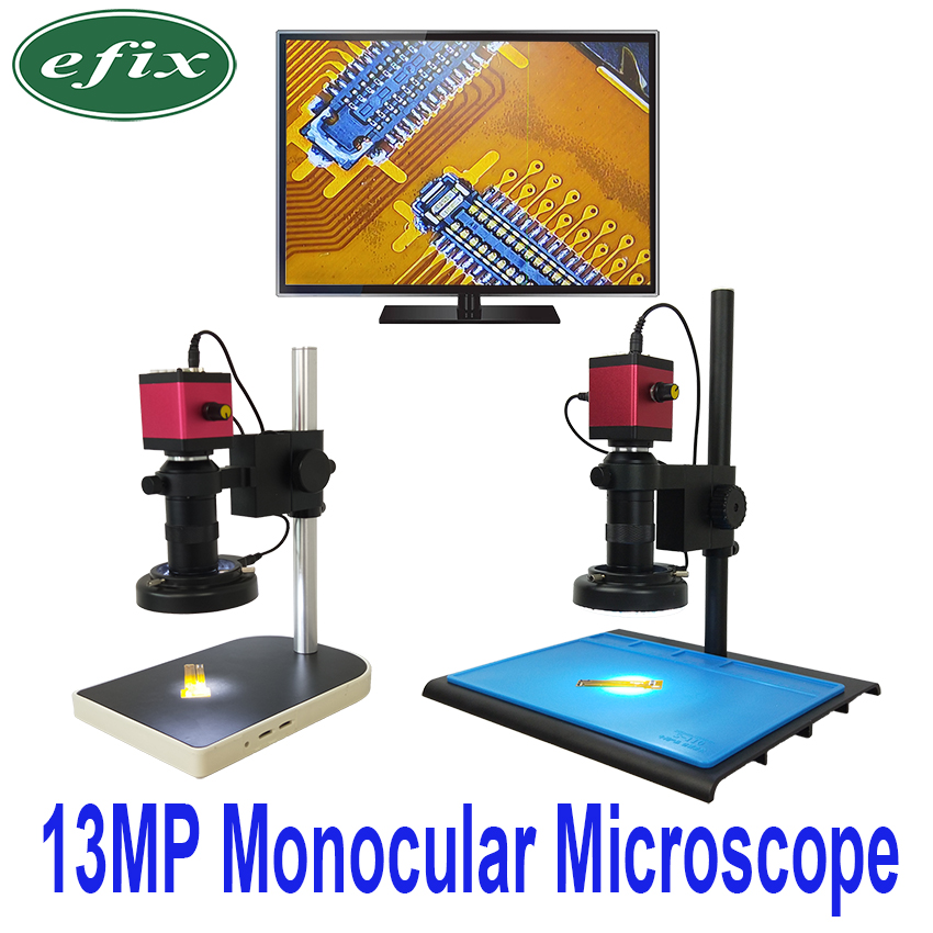 Efix 13MP HDMI VGA HD Monocular Microscope Digital Camera Lens +56 LED Ring Light + Big Workbench Stand Repair Phone Soldering