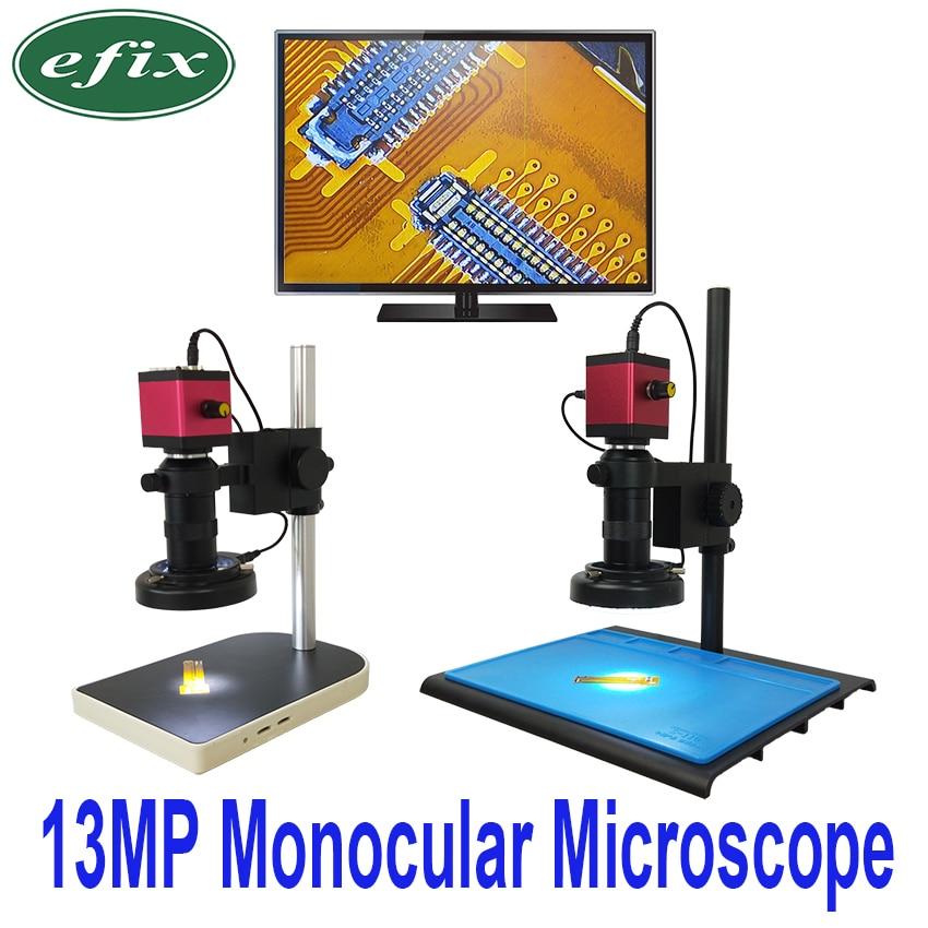 Ефикс 13MP HDMI VGA HD монокулярный микроскоп цифровой Камера объектив + 56 светодиодный кольцо свет + большой стойка для верстака ремонт телефонов ...