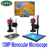 efix 13MP HDMI VGA HD Monocular Microscope Digital Camera Lens +56 LED Ring Light + Big Workbench Stand Repair Phone Soldering
