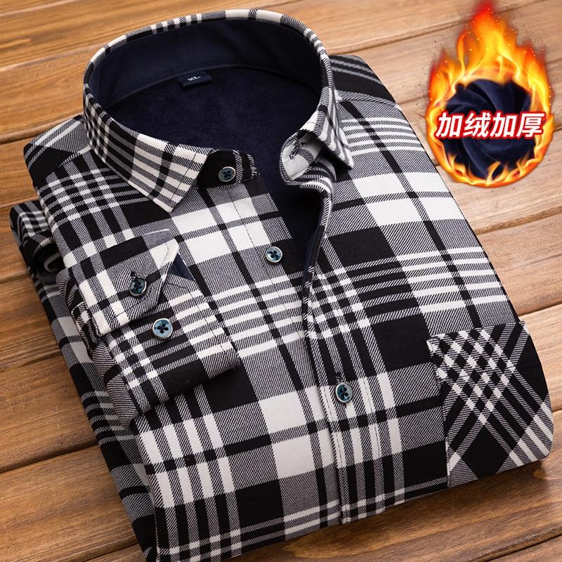 Plaid Shirt  2018 New Winter Men's Long Sleeve Dress Shirt Camisa Masculina Brand Thick Velvet Casual Shirts 4XL