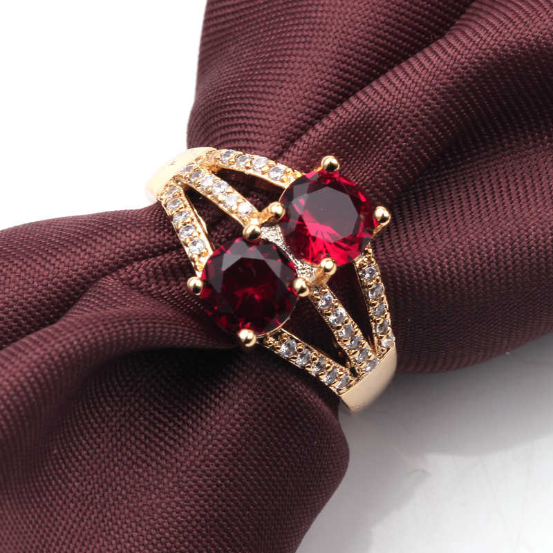 Женское двойное зеленое круглое кольцо модное позолоченный ювелирное винтажное обручальное кольцо для женщин День рождения камень подарки ювелирные изделия