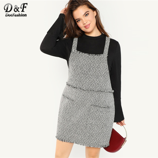Dotfashion Plus Size Black And White Frayed Trim Tweed Pinafore Dress Women Clothes 2019 Autumn Fashion Casual Knee Length Dress 2