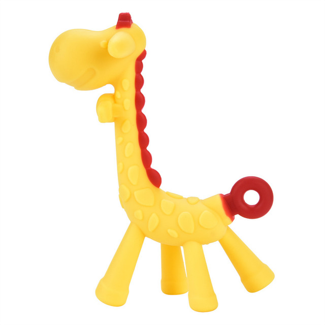 afb71cc73b0 US $2.15 9% OFF|Cartoon Giraffe Baby Teether Silicone BPA Free Food Grade  Infant Teething Toy New Necklace Hanging Chew Toy For Baby Stroller-in Baby  ...