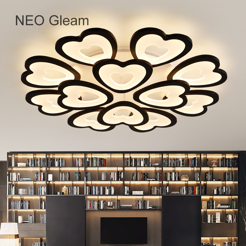 NEO Gleam Modern Led Ceiling Chandeliers For Living Room Bedroom Round White Black Home Dec Modern