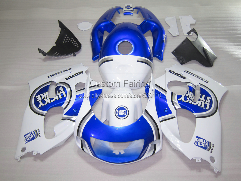 High quality Fairing kit for SUZUKI GSXR 600 750 1996 1997-2000 blue LUCKY STRIKE GSXR600/750 96 97 98 99 00 fairings set ZE23