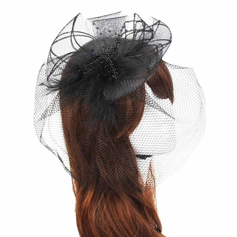 Colorful Wedding Fascinator Veil Feather Hard Yarn Headband Hats Women Brides Hair Accessories
