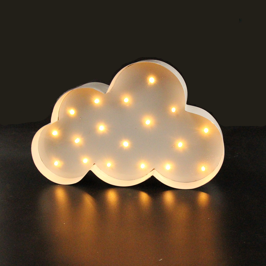 White Cloud LED Marquee Sign LIGHT UP Zabytkowe metalowe lampki nocne do wnętrz Indoor Deration