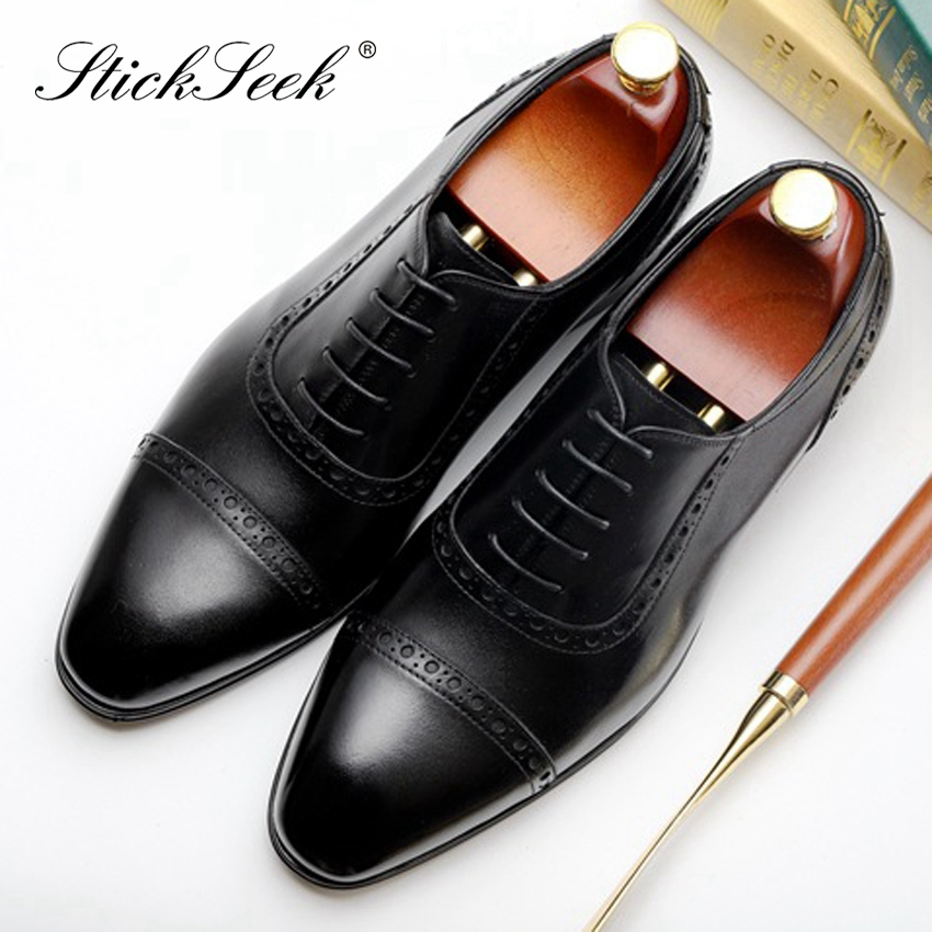 mens Real Leather brogues Lace Up Formal Business Designer business Shoes Size