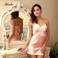 AOHAOLEE Hot Sale 9 Colors Women Sexy Lingerie Satin Nightgown Chemises Slip Sleepwear Deep V Neck Babydoll Nightgowns For Women
