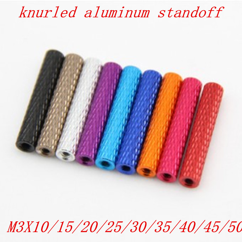 10pcs/lot M3 3mm Colourful Aluminum Knurled Spacer Standoff  M3x10/15/20/25/28/30/35/37/40/45/50