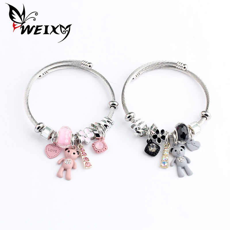 Adjustable Open Stainless Steel Bracelet Bangles Little Bear Cuff Bracelet For Women Jewelry Gift For Girls
