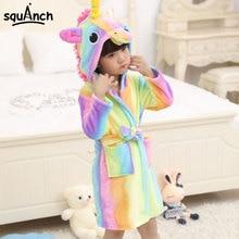 Animals Bath Robes Kids Cartoon Unicorn Giraffe Sleep Bathrobe Flannel Warm Soft Funny Pajama Suit Boy