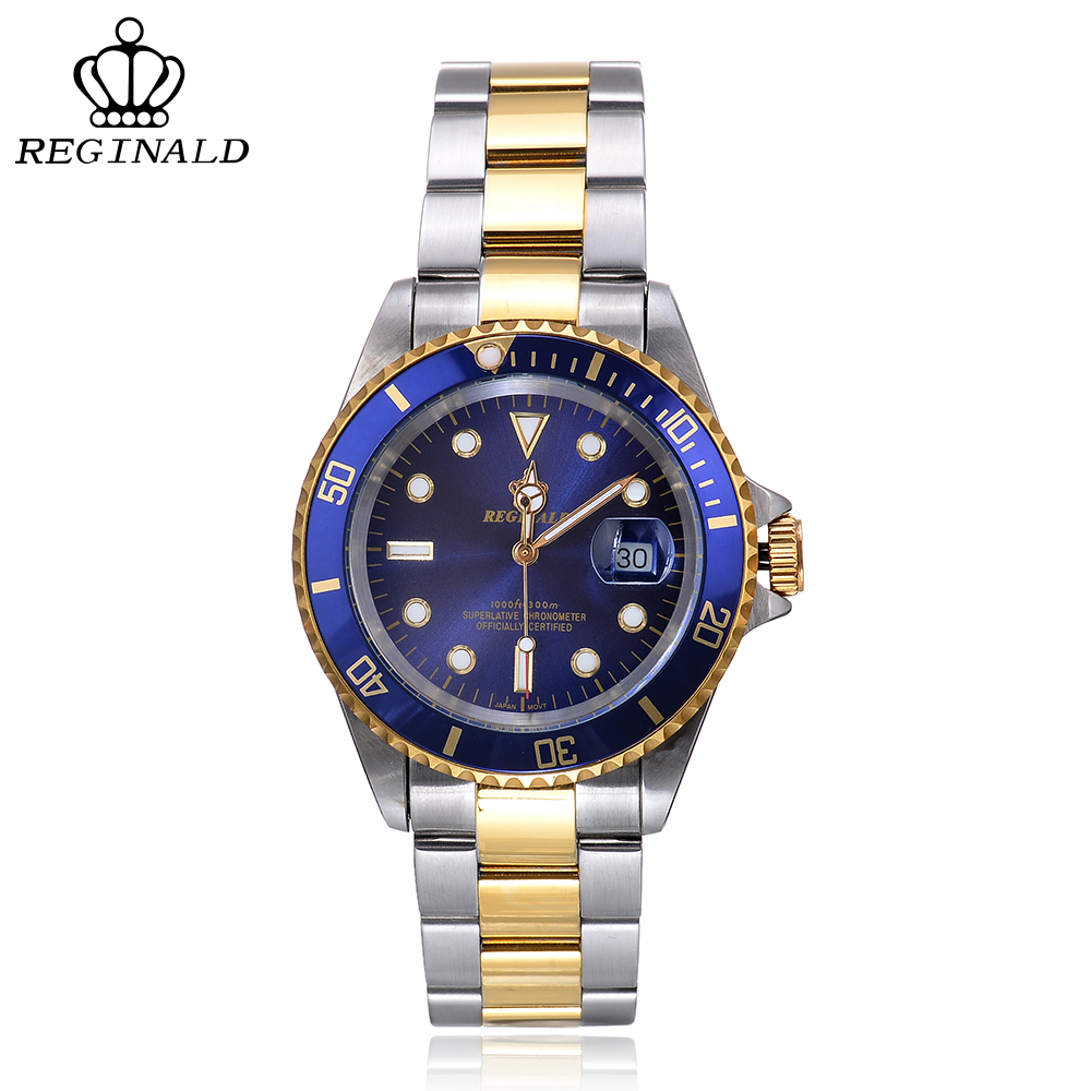 REGINALD Mens Watches Top Brand Luxury Quartz Watch Men 316L Stainless Steel Relogio Masculino Reloj Hombre Horloges Mannen cadisen top new mens watches top brand luxury complete calendar 3atm sport watches for men clock stainless steel horloges mannen