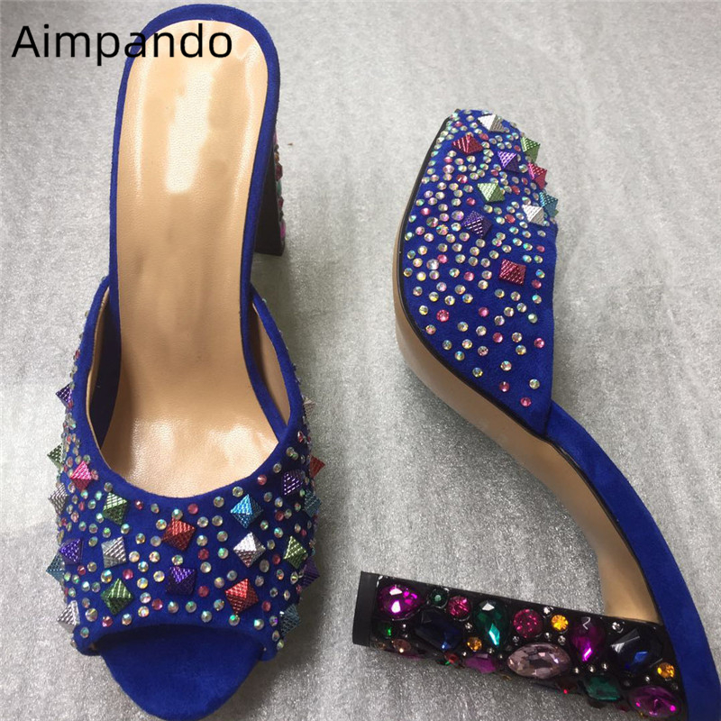 Colorful Rivet Crystal Suede Slippers Women New Arrival Open Toe Rhinestone High Heel Mules For Lady