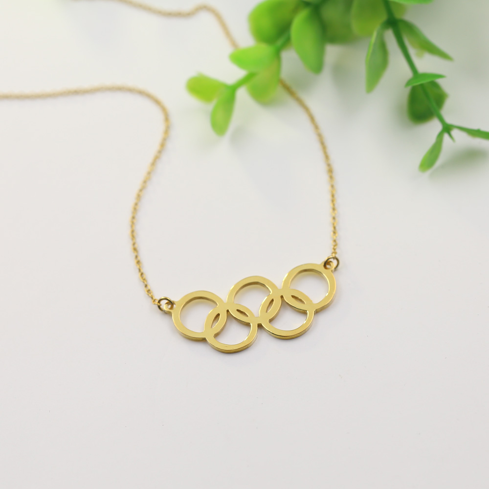 Wholesale Gold Color 5 Circle Olympics Necklace Olympics Games Jewelry Custom Pendent Souvenir 925 Solid Necklace