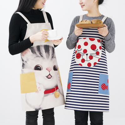 Cartoon apron smock household lovely kitchen lovers work clothes cooking oilproof apron