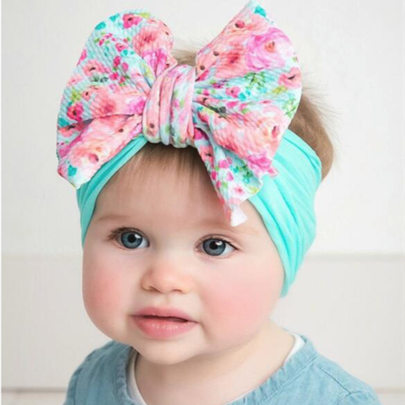 Infant Nylon Print Fabric Headband Baby Girl Headbands For Girls Bandeau Bebe Fille Bows Baby Turban Headwrap Newborn Haarband