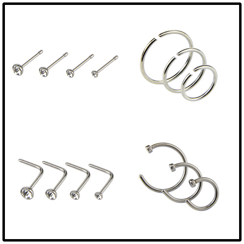 Set 14pcs Silver Nose Stud Pin L Post Clear Crystal Steptum Hooks