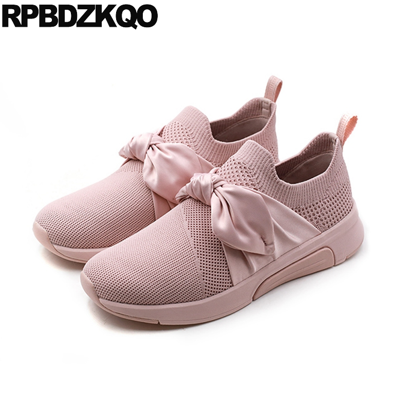 slip on elastic flats china pink sneakers bowtie walking trainers bow breathable designer shoes women luxury 2018 round toe mesh bow elastic round toe women slip on latest suede flats big designer shoes china chinese fashion beautiful european drop shipping