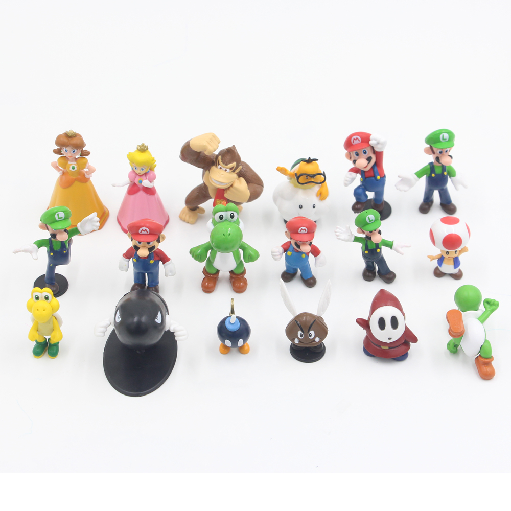 The Anime Super Mario Bros Dolls Toys PVC Action Figure Toys Plastic Collectible Dolls for Children / Kids Gift 18 Pcs / Set super mario bros action pvc figure toys 2 options 9pcs set 12cm height for xmas gift