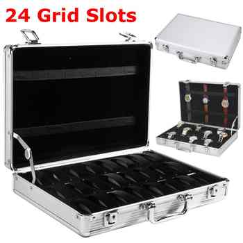 24 Grid Slots Aluminium Watch Box Display Case Jewelry Collection Casket Storage Organizer Wristwatch Suede Inside Box Holder - DISCOUNT ITEM  24 OFF Watches