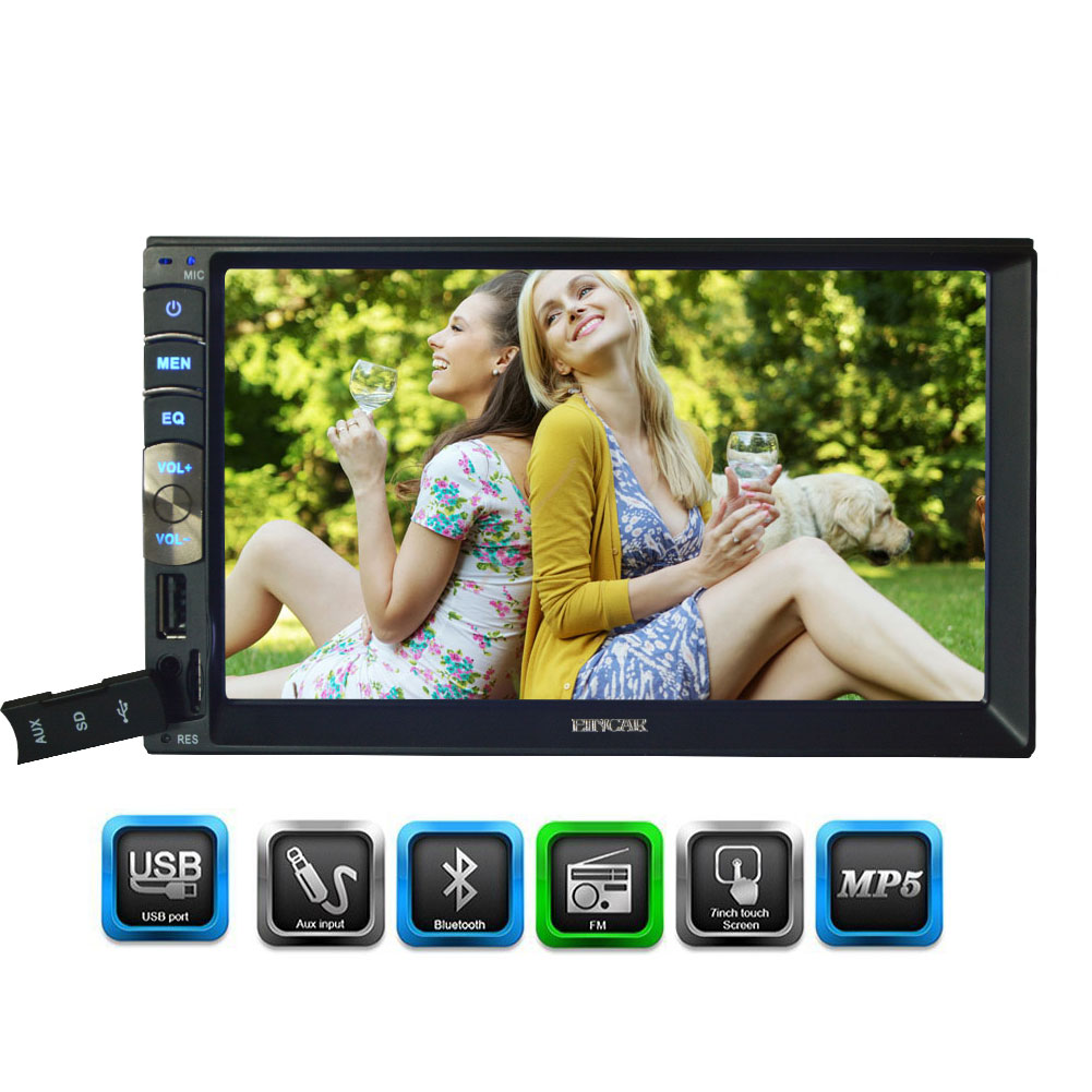 Double 2 Din Car Radio MP5 Bluetooth Stereo 7 Inch In Dash HD Touchscreen no-dvd USB SD Music 1080p AM FM Backup Camera Free Map 7 inch double 2 din car stereo mp5 mp3