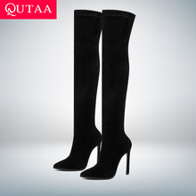 QUTAA Women Boots Slip-On-Shoes Stretch-Fabrics Pointed-Toe High-Heel Over-The-Knee Size-34-43