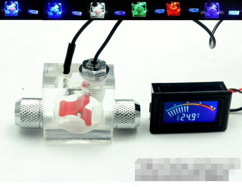 Débit Scout Compteur avec led Et Pointeur Thermomètre Pour L'eau Liquide Refroidisseur Système CPU avec raccord
