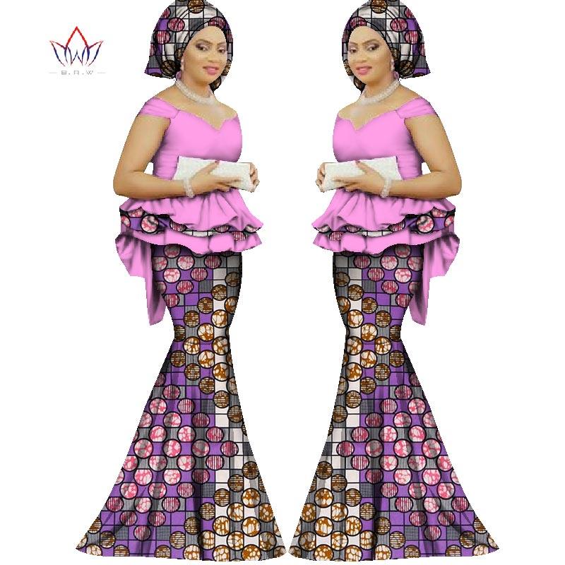 2017 Spring skirt set african direka pakaian tradisional bazin cetak - Pakaian kebangsaan - Foto 5