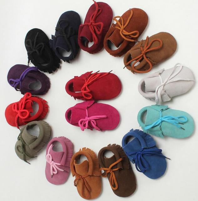 1 Par Enviar Matorrales zapatos de Cuero con cordones Zapatos de Bebé Recién Nacido Niños Niñas Mocasines Blandos Infantiles Primera Walker 0-24 M