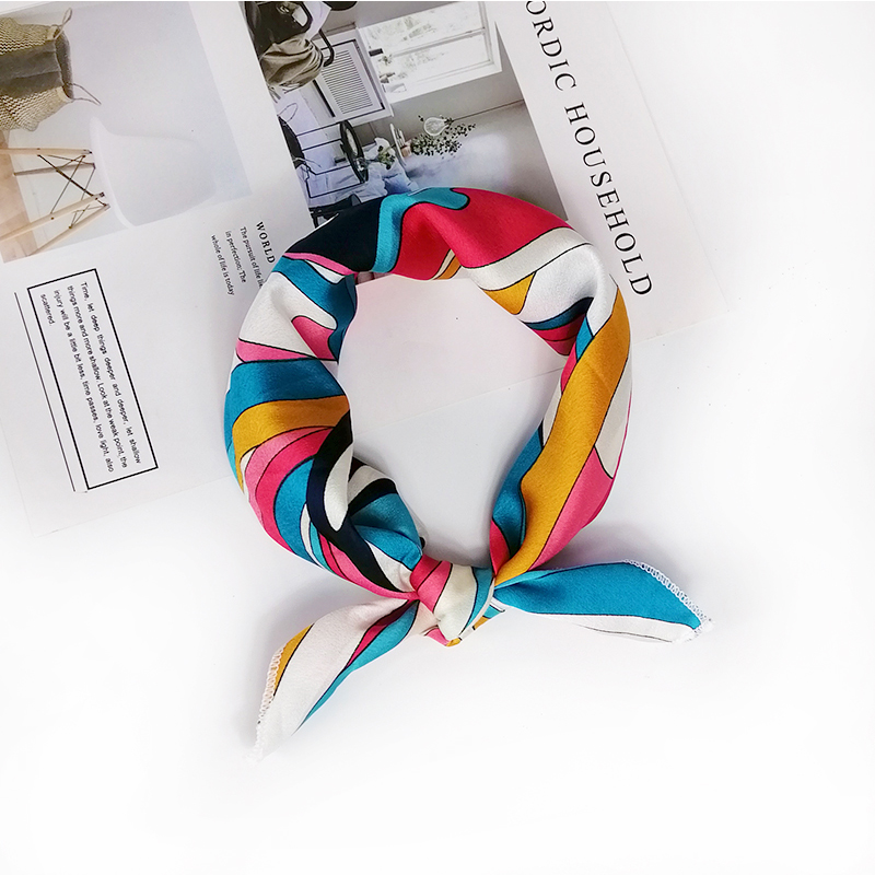 HTB1uZEkeRaE3KVjSZLeq6xsSFXaL - new style Square Scarf Hair Tie Band For Business Party Women Elegant Small Vintage Skinny Retro Head Neck Silk Satin Scarf