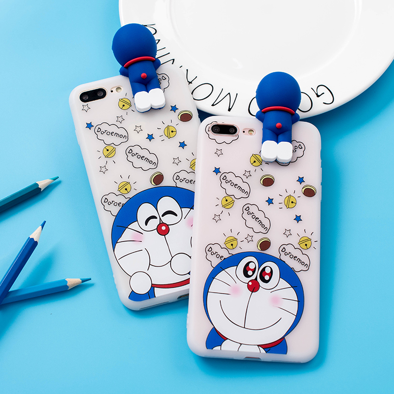 3D Doraemon case For iphone 7 plus 6 6splus cute Cartoon lying Case For huawei P9 / p10 / honor8 soft silicone cover for iphone7