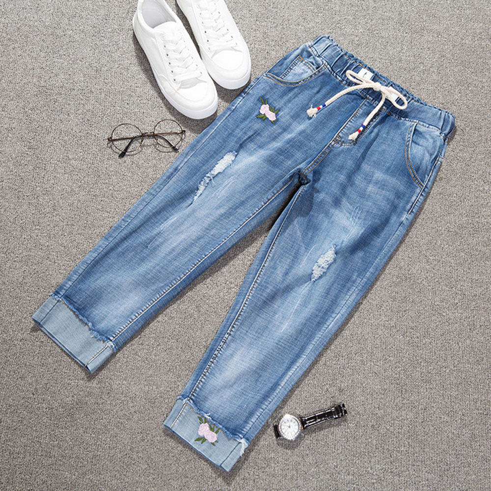 AudWhale Women's Loose   Jeans   High Waist Stretch Harem   Jeans   For Women Drawstring Ankle Length Denim   Jeans   Pants
