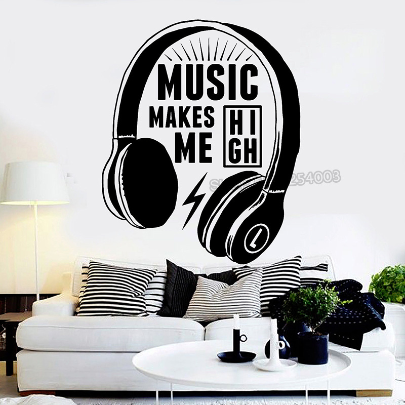 US $8.98 25% OFF Headphones Musical Quote Wall Decals Music Teen Wall  Stickers For Teen Bedroom Removable Art Mural Home Decoration L430-in Wall  ...