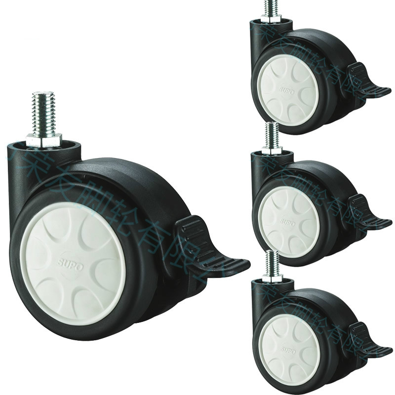 Black furniture casters/wheels With brake,Double wheel mute,<font><b>M8x15</b></font> screw ,Foot brake,Durable,home casters image