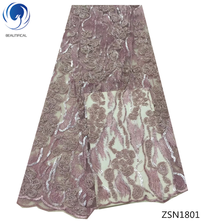 BEAUTIFICAL free shipping african french lace fabric with sequins 2018 french tull lace fabrics for women dress 5yards/lot ZSN18BEAUTIFICAL free shipping african french lace fabric with sequins 2018 french tull lace fabrics for women dress 5yards/lot ZSN18