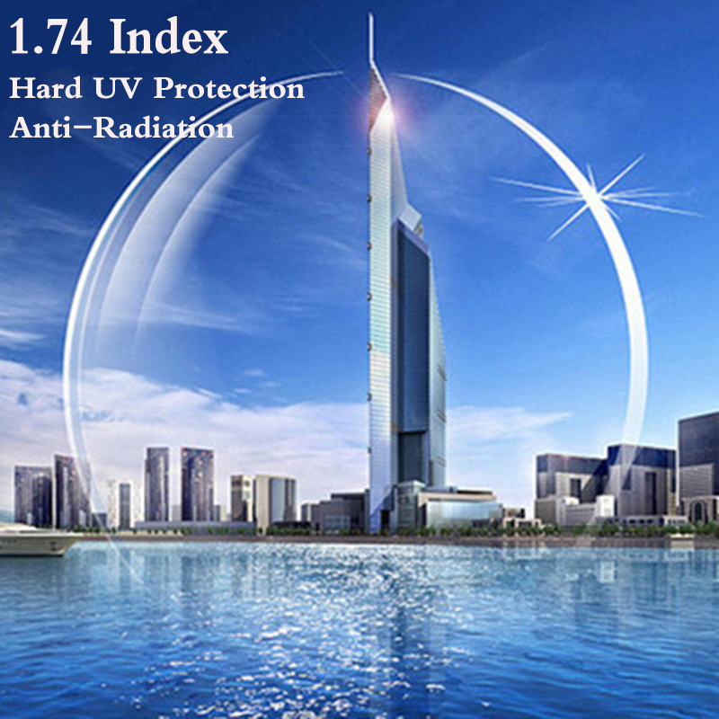 1.74 Index Ultra Thin CR-39 Aspheric Prescription Myopia Presbyopia Glasses Optical Lens UV Protect Anti-Radiation 2 PCS RS202