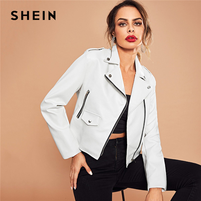 59733304462c SHEIN White Rock Office Lady Pocket Asymmetric Zip Placket Biker Jacket  Autumn Workwear Modern Lady Women