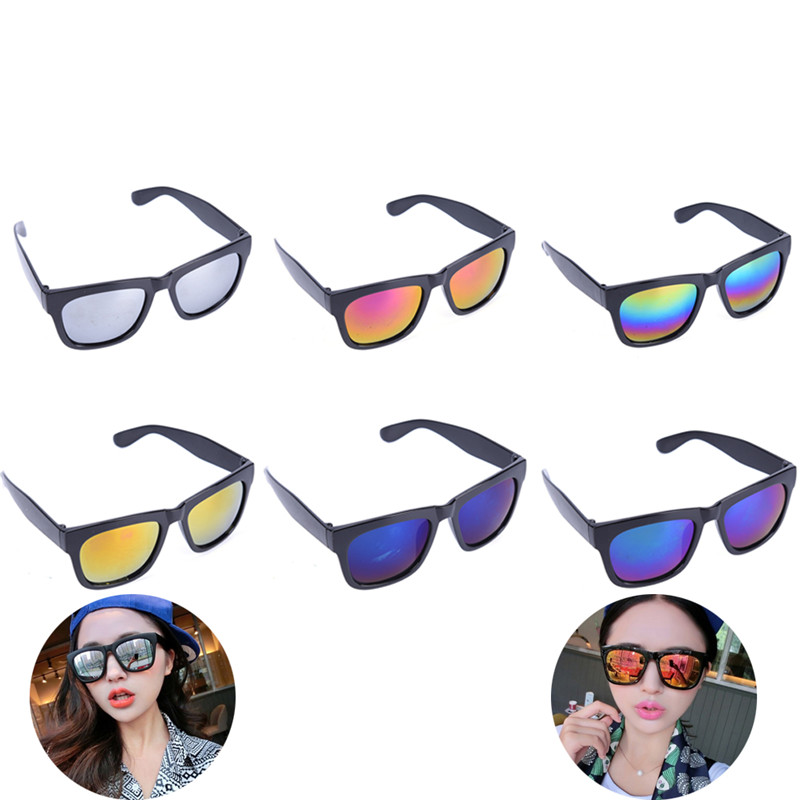 Women Colorful Sunglasses Vintage Retro Reflective Glasses Eyewear Accessories
